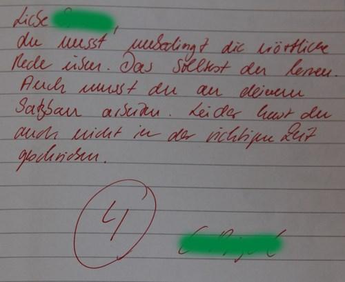 Klassenarbeit Kommentar